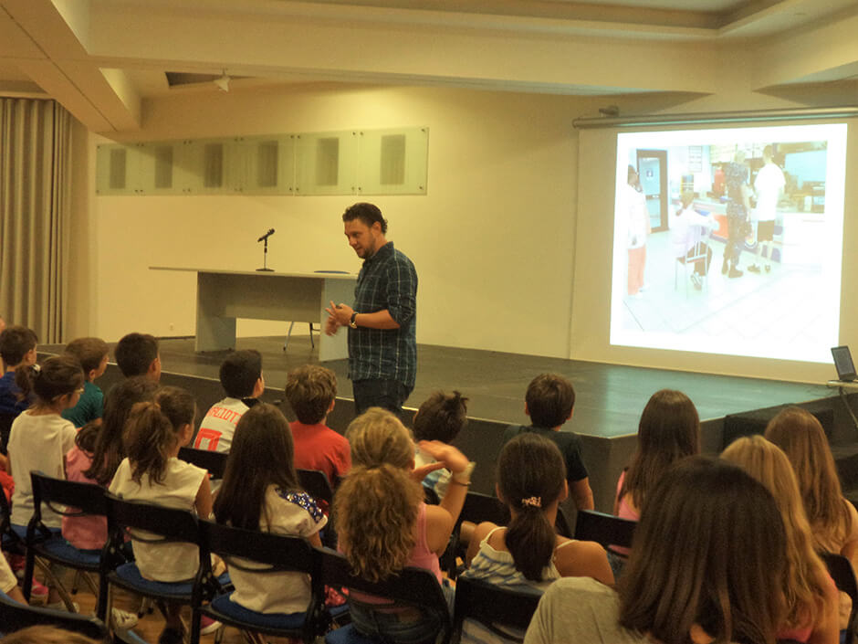 Students aged 9-10 years at EA discuss Nutrition with Dr. Ioannis Ioakeimidis