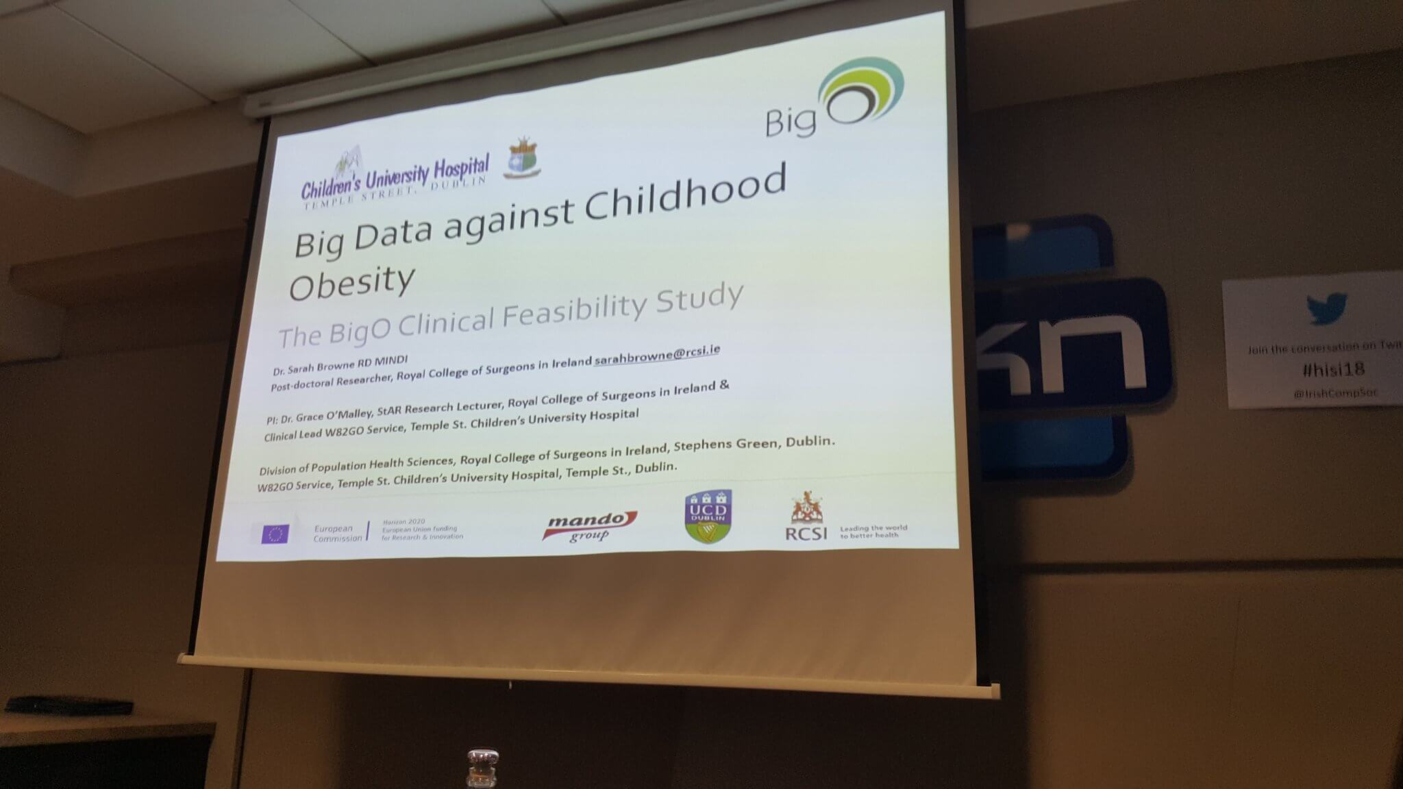 BigO presented at HISI 2018 in Dublin, Ireland